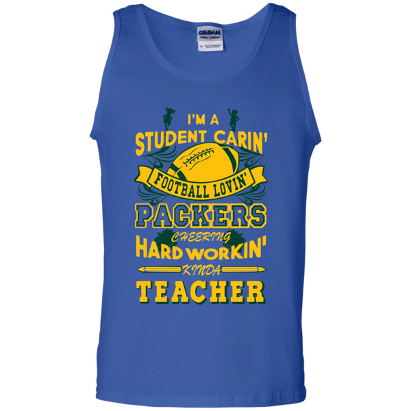 Student Caring Loving Cheering Packers Teacher  Cotton Tank Top - TeachersLoungeShop - 3