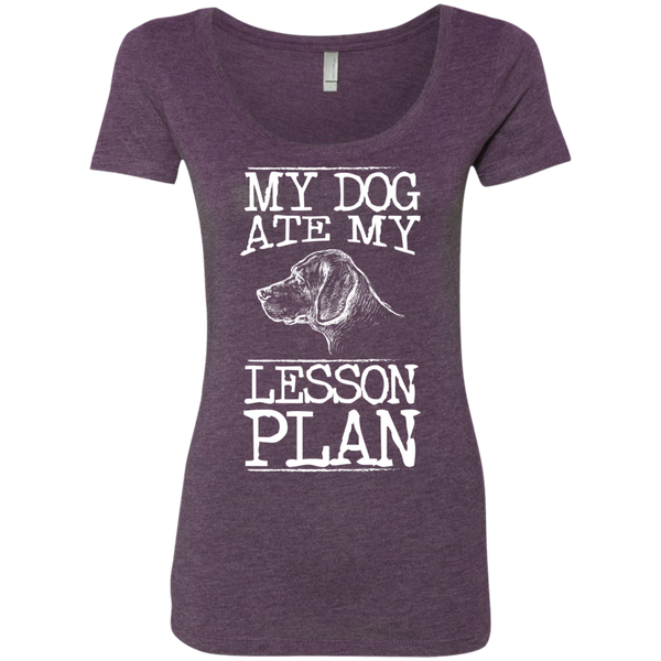 My Dog Ate my Lesson Plan Next Level Ladies Triblend Scoop - TeachersLoungeShop - 3