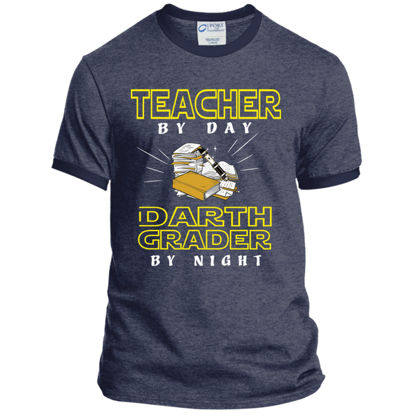 Teacher By Day Darth Grader By Night Ringer Tee - TeachersLoungeShop - 4