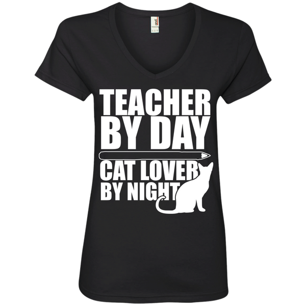 Teacher by Day Cat Lover by Night V-Neck Tee - TeachersLoungeShop - 1