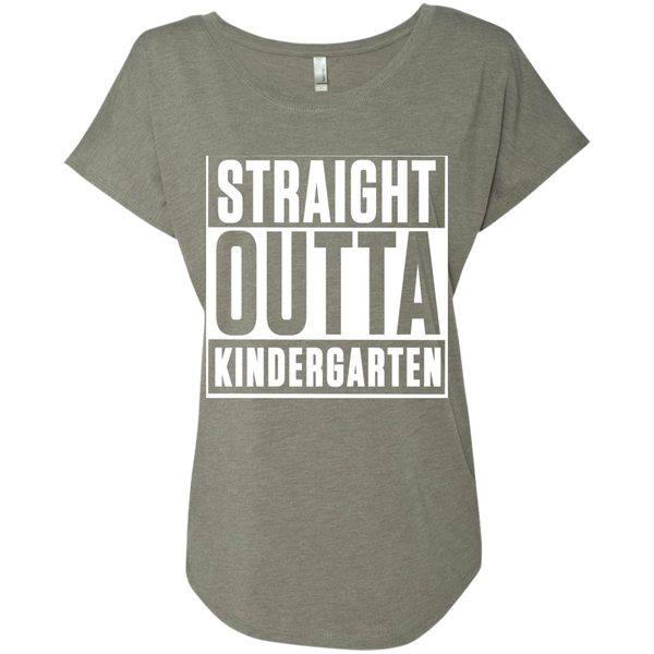 Straight Outta Kindergarten  Level Ladies Triblend Dolman Sleeve - TeachersLoungeShop - 3