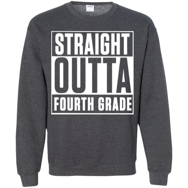 Straight Outta Fourth Grade  Crewneck Pullover Sweatshirt  8 oz - TeachersLoungeShop - 8