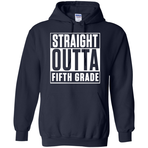 Straight Outta Fifth Grade  Hoodie 8 oz - TeachersLoungeShop - 3
