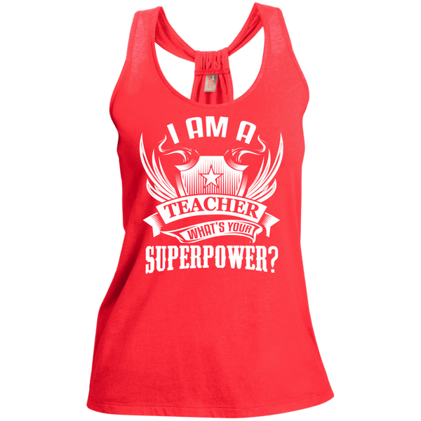 I am a Teacher what's your Superpower Ladies Shimmer Loop Back Tank - TeachersLoungeShop - 2