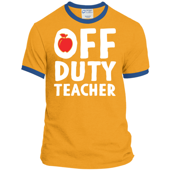 Off Duty Teacher Ringer Tee - TeachersLoungeShop - 3