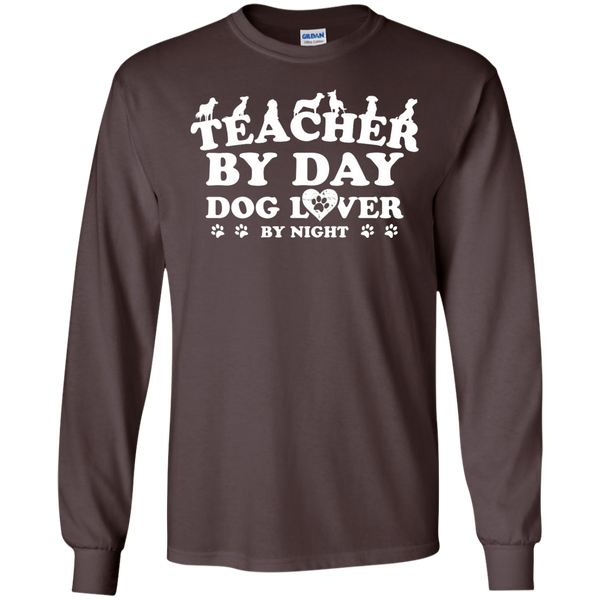Teacher By Day Dog Lover by Night LS Ultra Cotton Tshirt - TeachersLoungeShop - 11