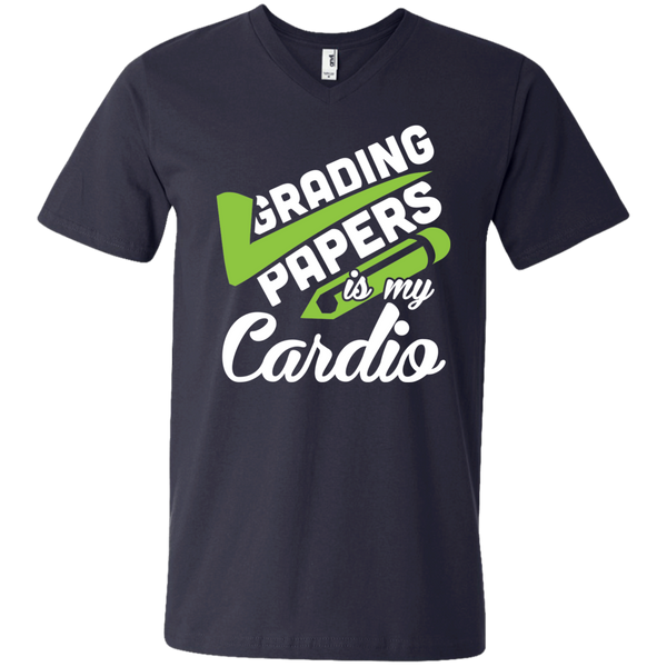 Grading papers is my cardio  Men's Printed V-Neck T - TeachersLoungeShop - 2