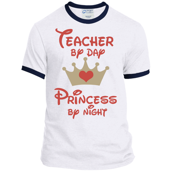Teacher by Day Princess by Night Ringer Tee - TeachersLoungeShop - 3