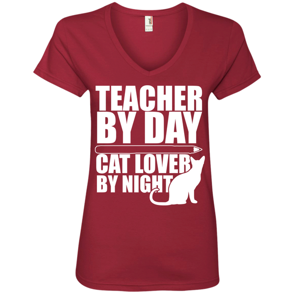 Teacher by Day Cat Lover by Night V-Neck Tee - TeachersLoungeShop - 3