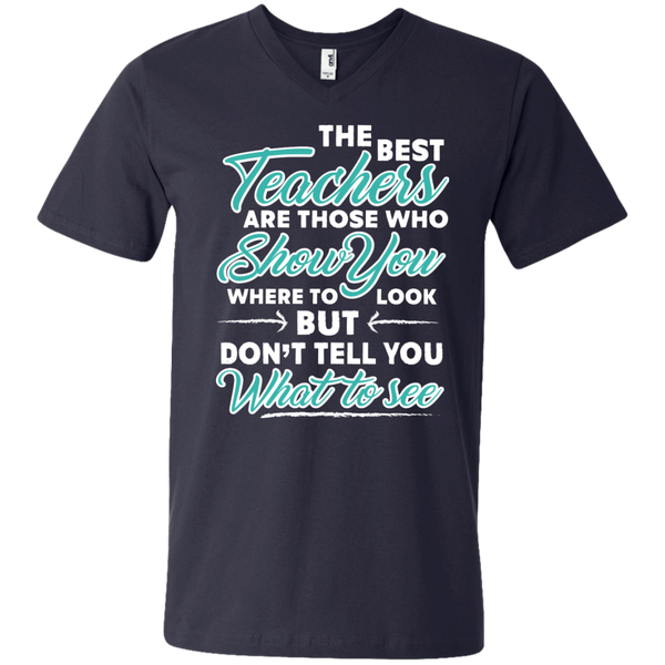 The Best Teachers are those who show you Men's  Printed V-Neck T - TeachersLoungeShop - 2
