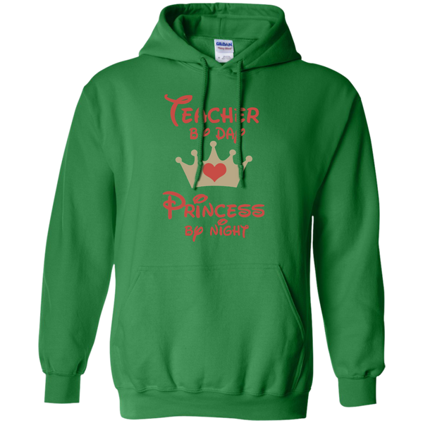 Teacher by Day Princess by Night Pullover Hoodie 8 oz - TeachersLoungeShop - 5