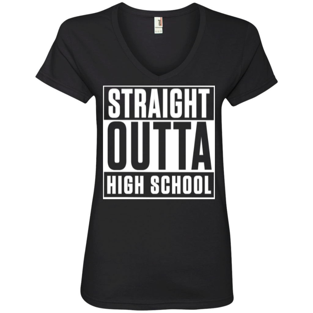 Straight Outta High School  Ladies  V-Neck Tee - TeachersLoungeShop - 1