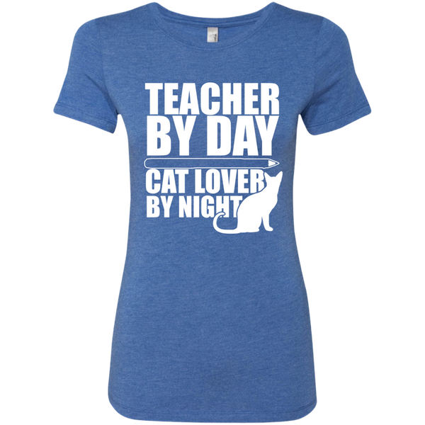 Teacher by Day Cat Lover by Night Next  Level Ladies Triblend T-Shirt - TeachersLoungeShop - 7