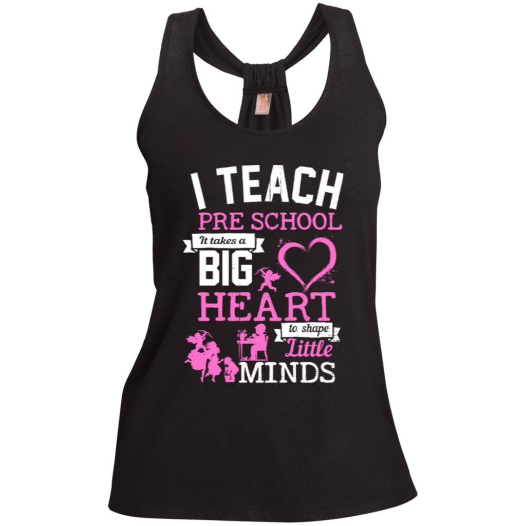 I Teach Preschool It Takes a Big Heart to Shape Little Minds  Shimmer Loop Back Tank - TeachersLoungeShop