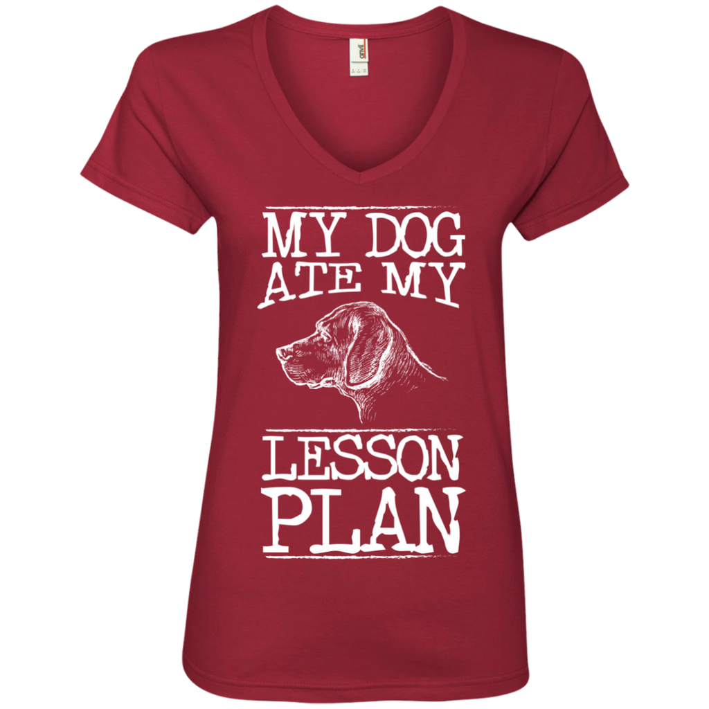 My Dog Ate my Lesson Plan  Ladies V-Neck Tee - TeachersLoungeShop - 1