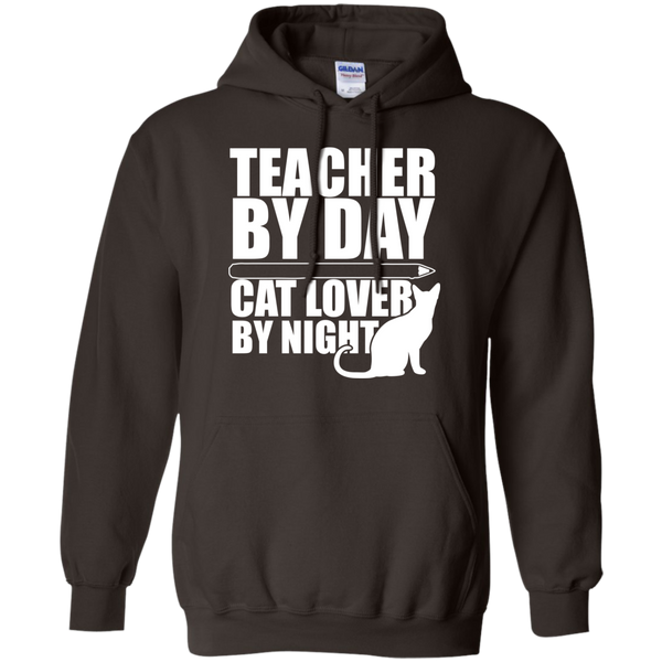 Teacher by Day Cat Lover by Night Hoodie 8 oz - TeachersLoungeShop - 5