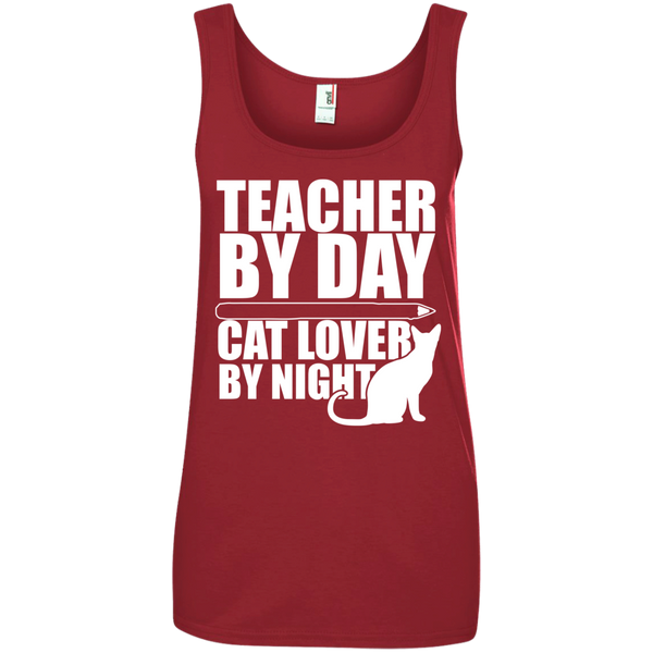 Teacher by Day Cat Lover by Night 100% Ringspun Cotton Tank Top - TeachersLoungeShop - 3