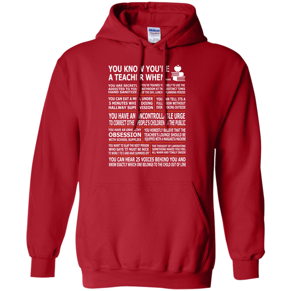 You Know You're a Teacher When Pullover Hoodie 8 oz - TeachersLoungeShop - 11