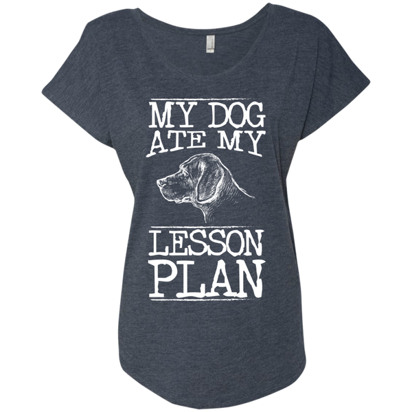My Dog Ate my Lesson Plan  Next Level Ladies Triblend Dolman Sleeve - TeachersLoungeShop - 5
