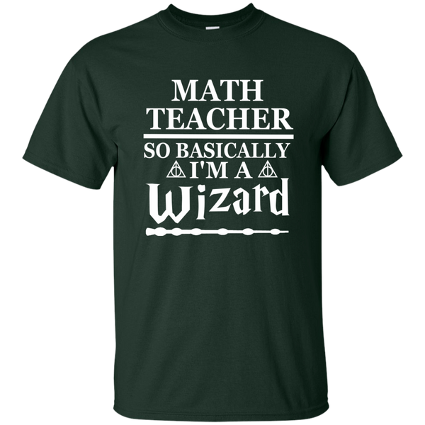 Math Teacher So Basically I'm a Wizard Cotton T-Shirt - TeachersLoungeShop - 2