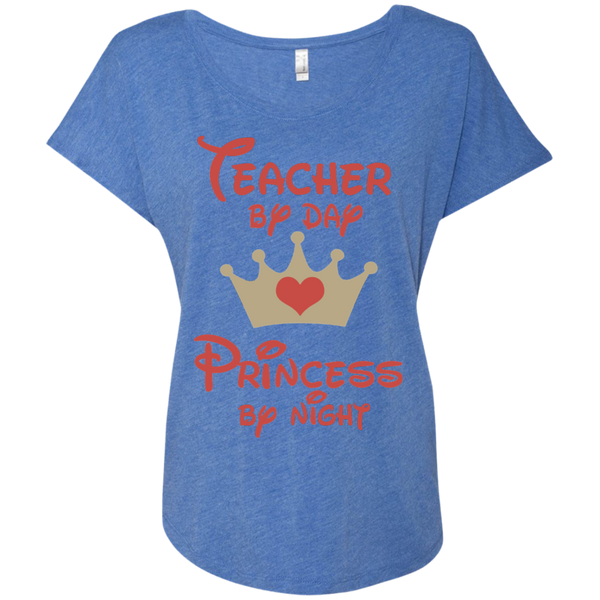 Teacher by Day Princess by Night Next Level Ladies Triblend Dolman Sleeve - TeachersLoungeShop - 9