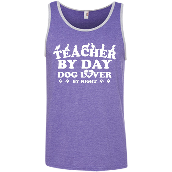 Teacher By Day Dog Lover 100% Ringspun Cotton Tank Top - TeachersLoungeShop - 4
