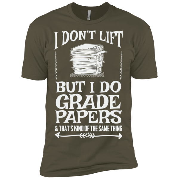 I Dont Lift but I do Grade papers Level Premium Short Sleeve Tee - TeachersLoungeShop - 8