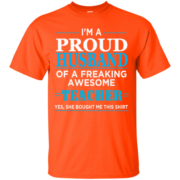 I'm a Proud Husband of a Freaking Awesome Teacher T-shirt Hoodie - TeachersLoungeShop - 6