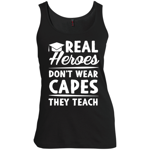 Real Heroes Dont wear capes They Teach  Women's  Scoop Neck Tank Top - TeachersLoungeShop - 2