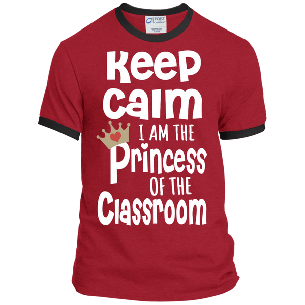 Keep Calm I am the Princess of the Classroom Ringer Tee - TeachersLoungeShop - 7