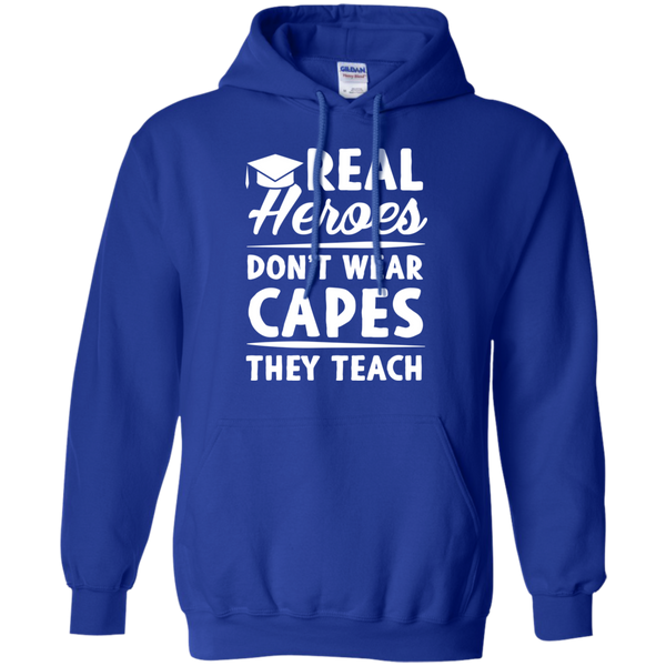 Real Heroes Dont wear capes They Teach   Hoodie 8 oz - TeachersLoungeShop - 12