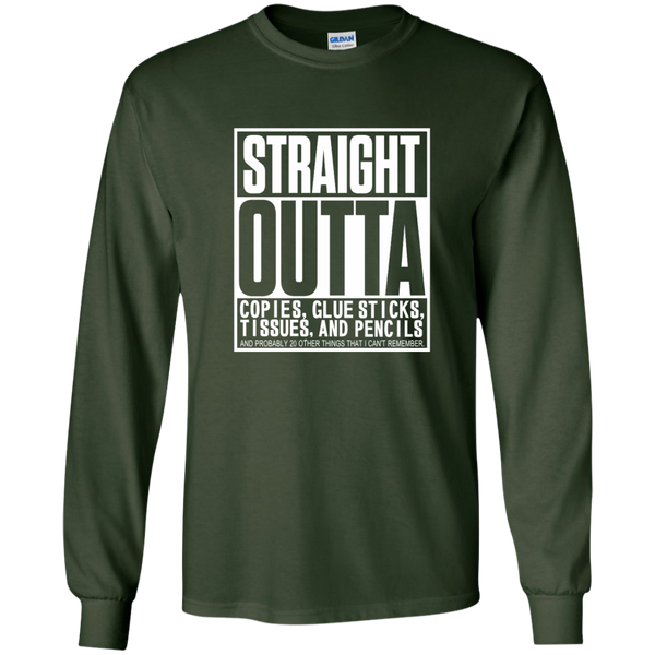 Straight Outta Copies Glue Sticks Tissues and Pencils LS Ultra Cotton Tshirt - TeachersLoungeShop - 2