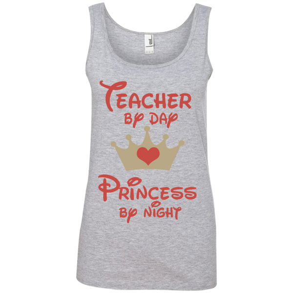 Teacher by Day Princess by Night Ladies' 100% Ringspun Cotton Tank Top - TeachersLoungeShop - 1