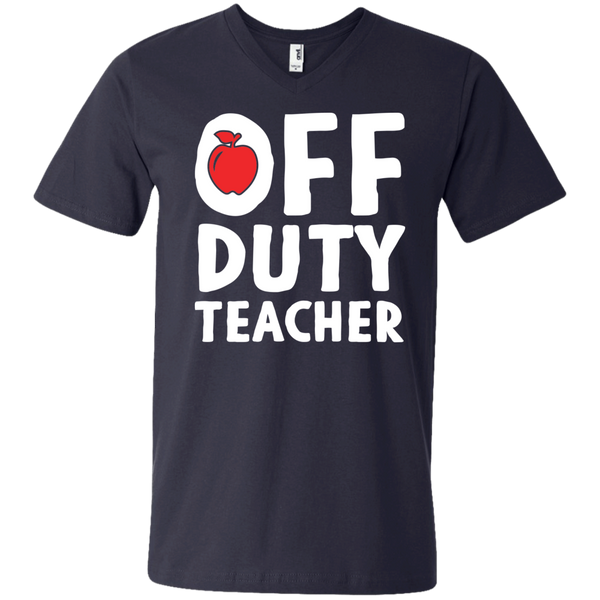 Off Duty Teacher  Men's Printed V-Neck T - TeachersLoungeShop - 3