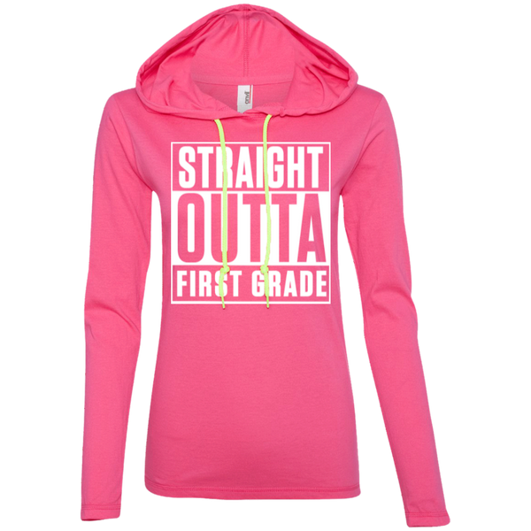 Straight Outta First Grade   LS T-Shirt Hoodie - TeachersLoungeShop - 2