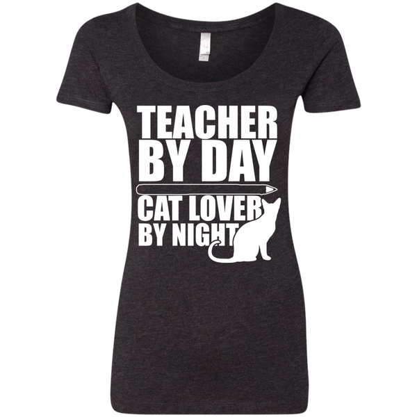 Teacher by Day Cat Lover by Night  Level Ladies Triblend Scoop - TeachersLoungeShop - 2