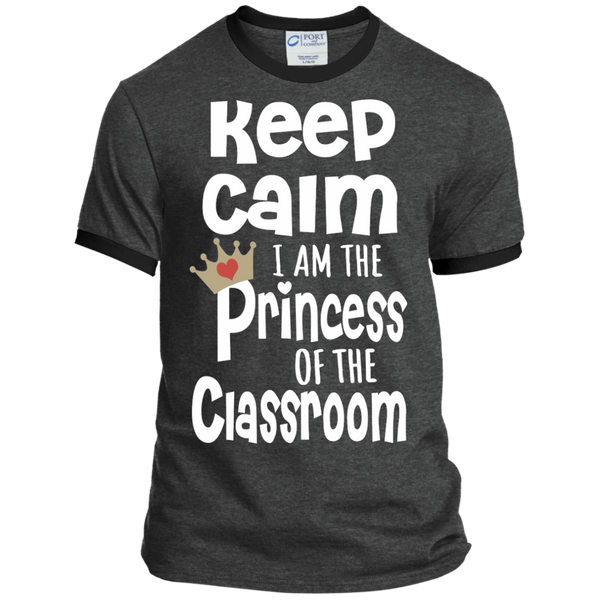 Keep Calm I am the Princess of the Classroom Ringer Tee - TeachersLoungeShop - 3