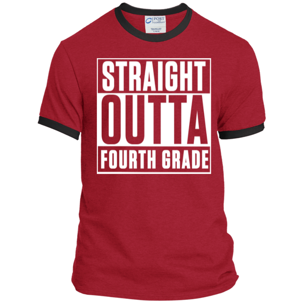 Straight Outta Fourth Grade  Ringer  Tee - TeachersLoungeShop - 7