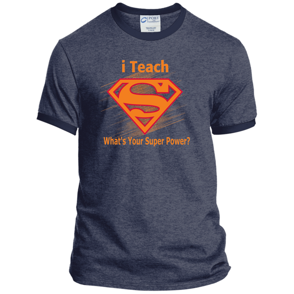 i Teach What's Your Superpower Ringer Tee - TeachersLoungeShop - 7