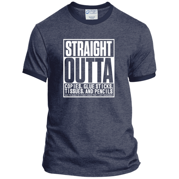 Straight Outta Copies Glue Sticks Tissues and Pencils Ringer Tee - TeachersLoungeShop - 4