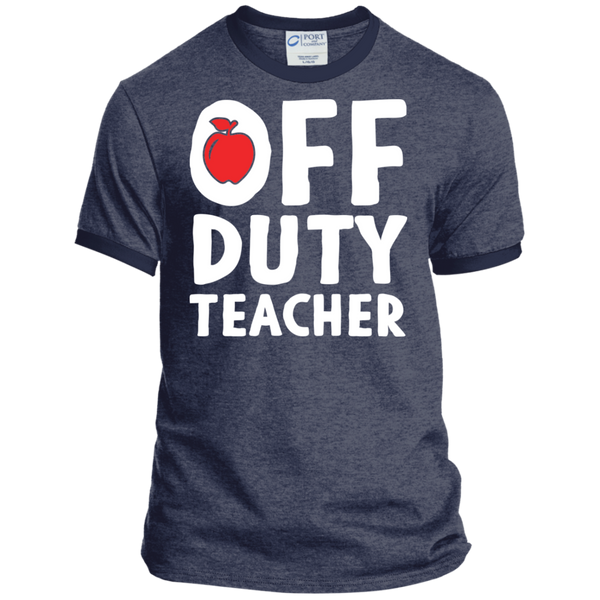 Off Duty Teacher Ringer Tee - TeachersLoungeShop - 4