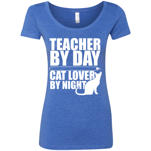 Teacher by Day Cat Lover by Night  Level Ladies Triblend Scoop - TeachersLoungeShop - 5