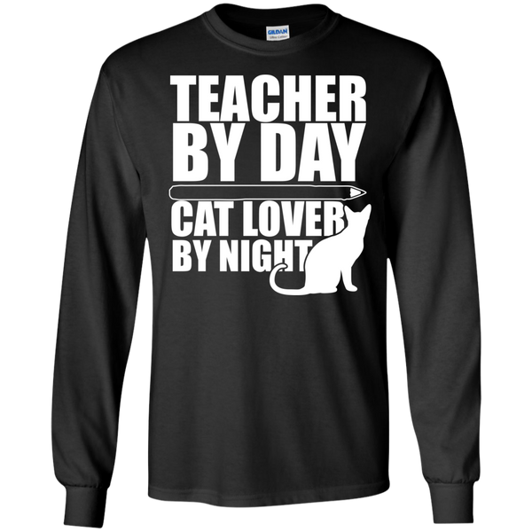 Teacher by Day Cat Lover by Night Ultra Cotton Tshirt - TeachersLoungeShop - 1