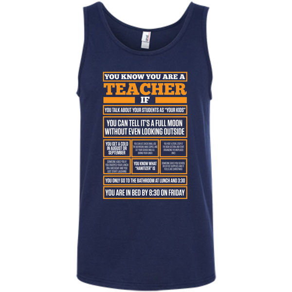 You know You are a Teacher if  100% Ringspun Cotton Tank Top - TeachersLoungeShop - 5