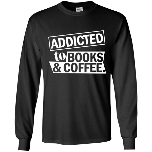 Addicted to Books and Coffee LS Ultra Cotton Tshirt - TeachersLoungeShop - 1