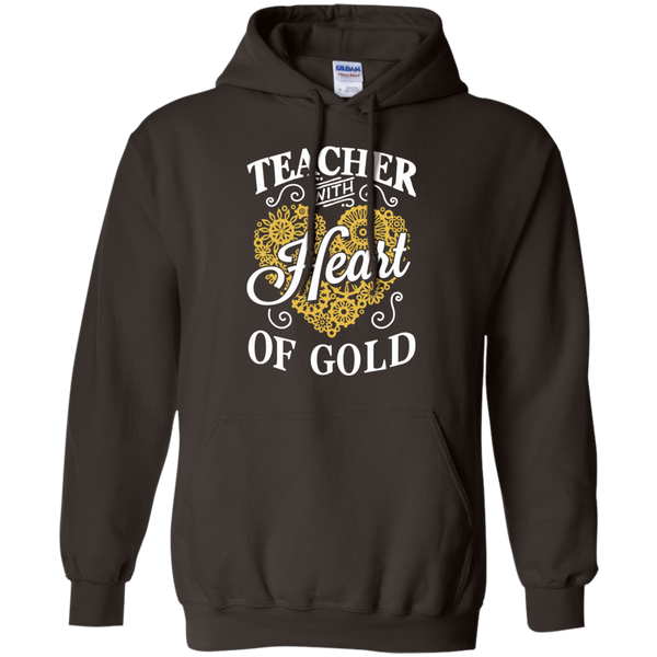 Teacher with Heart of Gold  Hoodie 8 oz - TeachersLoungeShop - 4