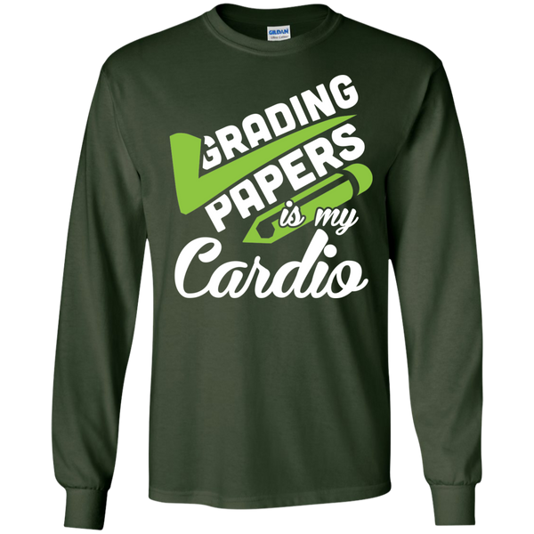 Grading papers is my cardio  LS Ultra Cotton Tshirt - TeachersLoungeShop - 2