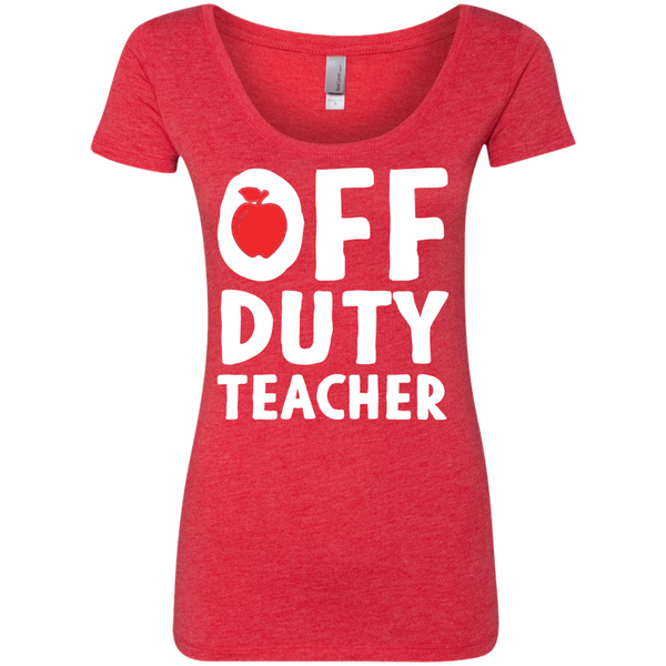Off Duty Teacher Next   Level Ladies Triblend Scoop - TeachersLoungeShop - 5