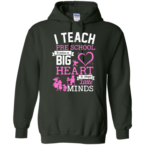 I Teach Preschool It Takes a Big Heart to Shape Little Minds Hoodie 8 oz - TeachersLoungeShop - 4