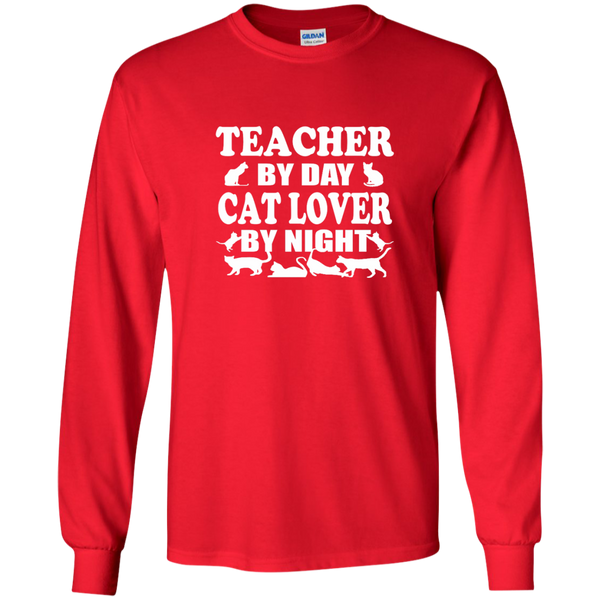 Teacher by Day Cat Lover by Night LS Ultra Cotton Tshirt - TeachersLoungeShop - 7